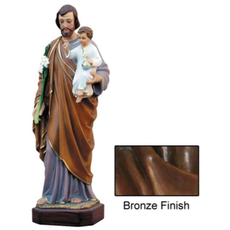 St Joseph with Child Statue - Bronze