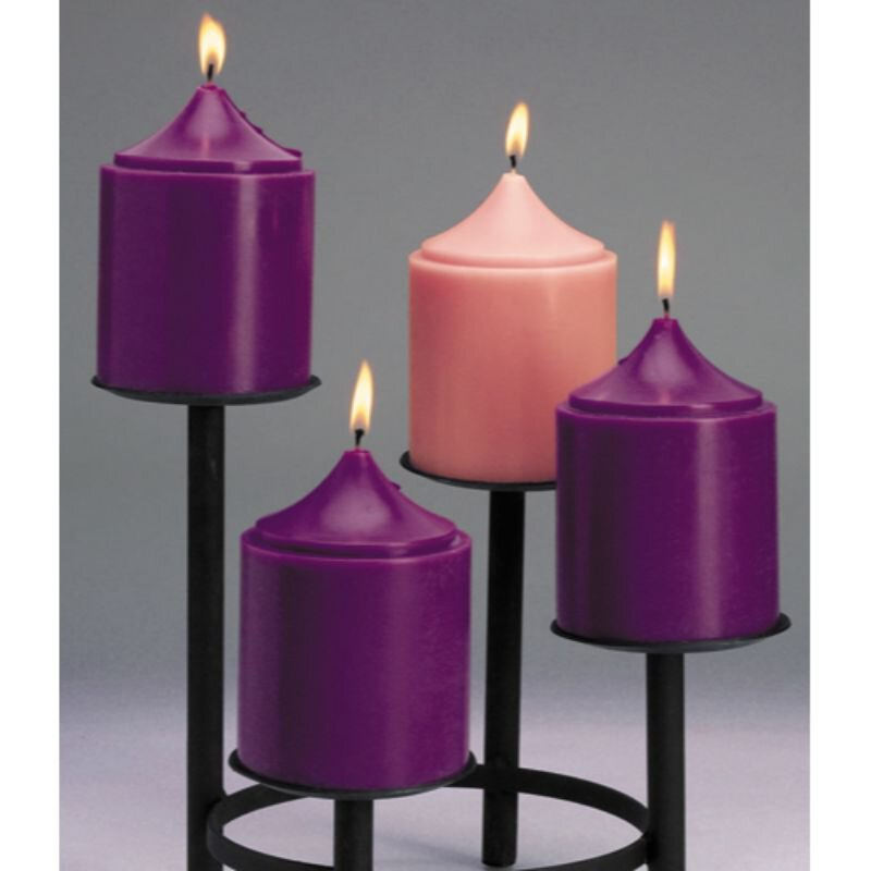 "6"" Advent Church Size Candle Set - Purple/Pink"