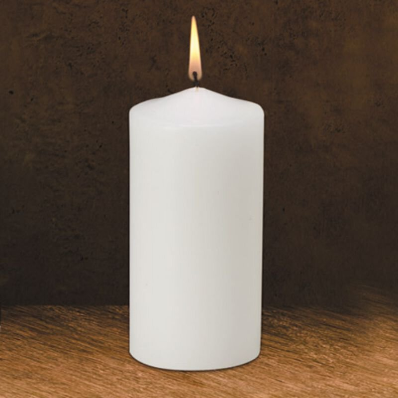 """6"""" Traditional White Pillar Candle"""