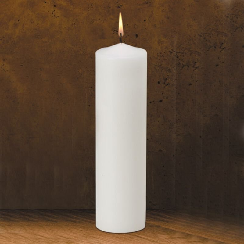 "12"" Traditional White Pillar Candle"