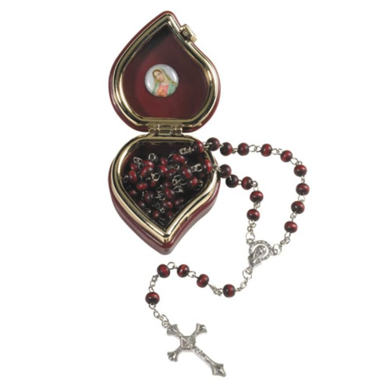 Madonna Rose Scented Rosary with Case - 12/pk