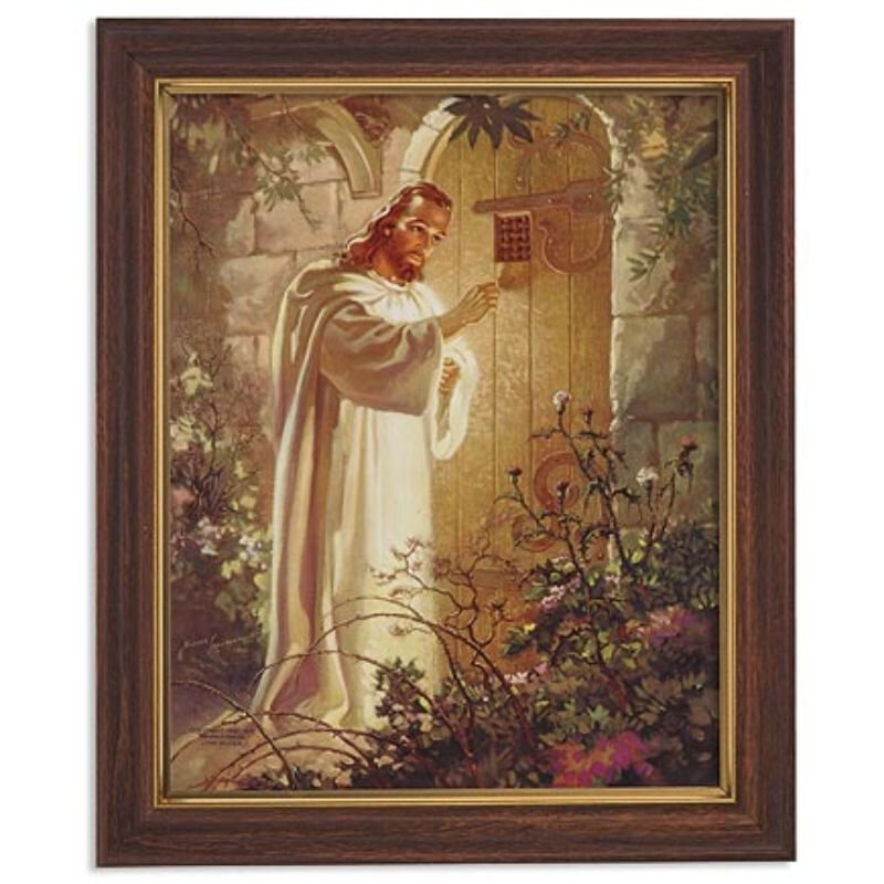 Sallman: Christ at Heart's Door Framed Print - Wood Tone