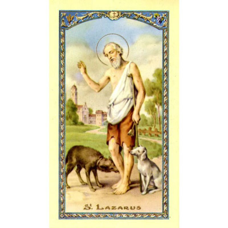 St. Lazarus Laminated Holy Card - 25/pk
