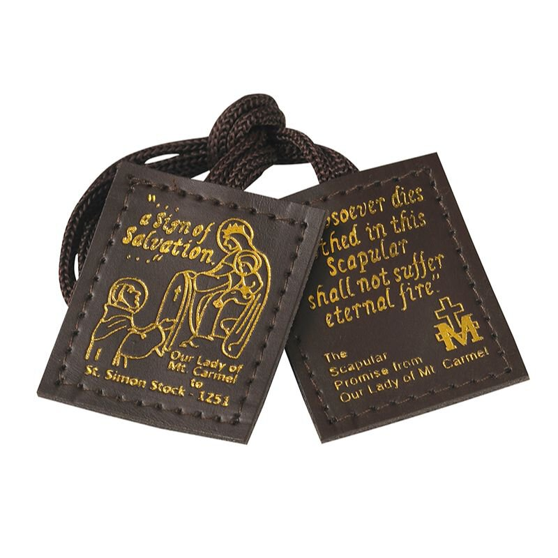 Brown Leather Scapular - 12/pk