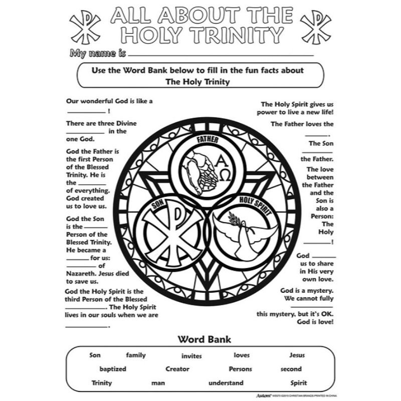 Color Your Own Poster - Holy Trinity - 50/pk