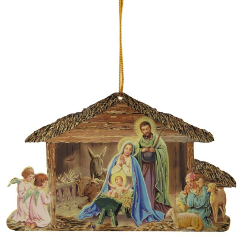 Traditional Stable Nativity Ornament - 50/pk