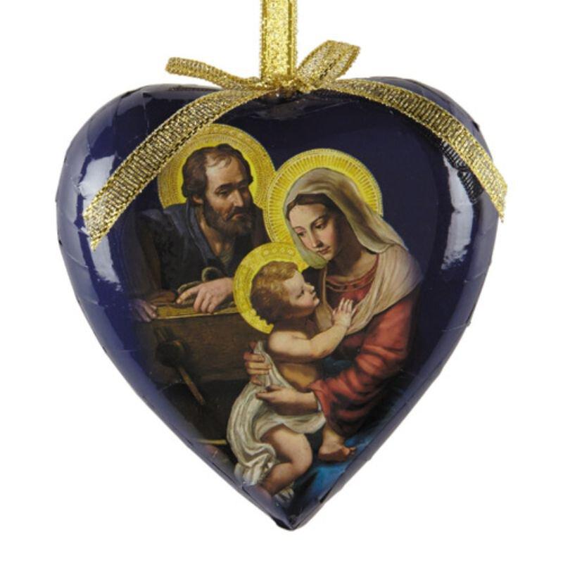 Adoring Holy Family Heart Shaped Decoupage Ornament - 6/pk