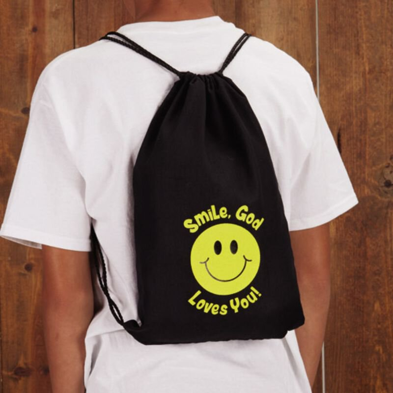 Smile, God Loves You! Drawstring Backpack - 12/pk