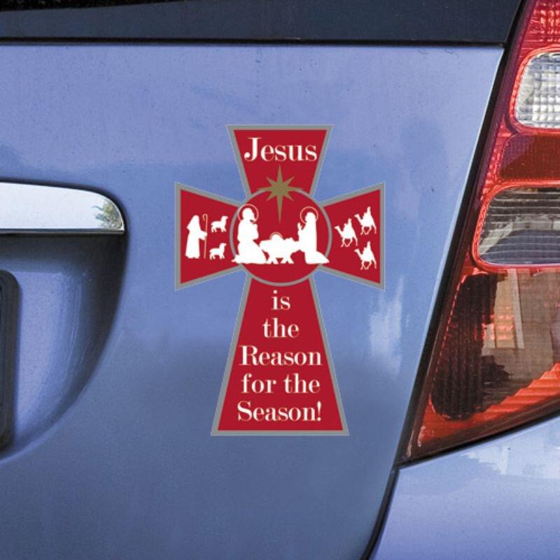 Jesus is the Reason Christmas Cross Auto Magnet - 24/pk