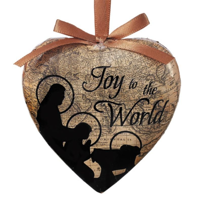 Joy to the World Heart Shaped Decoupage Ornament - 6/pk