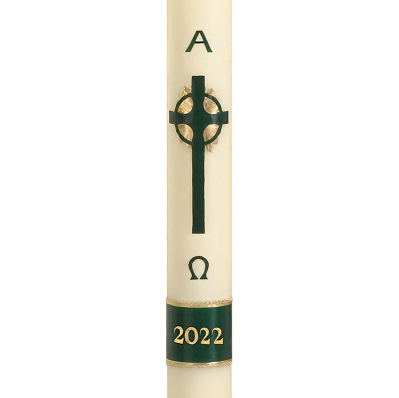 No 9 Emerald Cross Paschal Candle