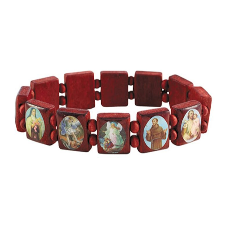 Square Panels Devotional Saints Bracelet - 10/pk