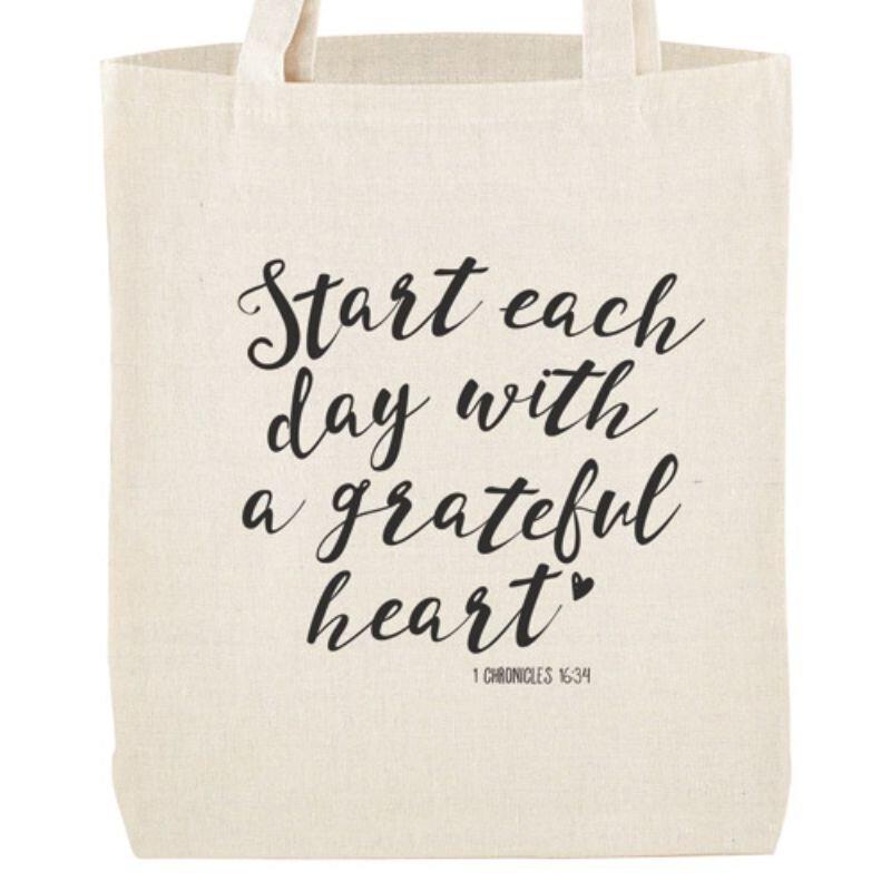 Grateful Heart Tote Bag with Inside Pocket - 12/pk