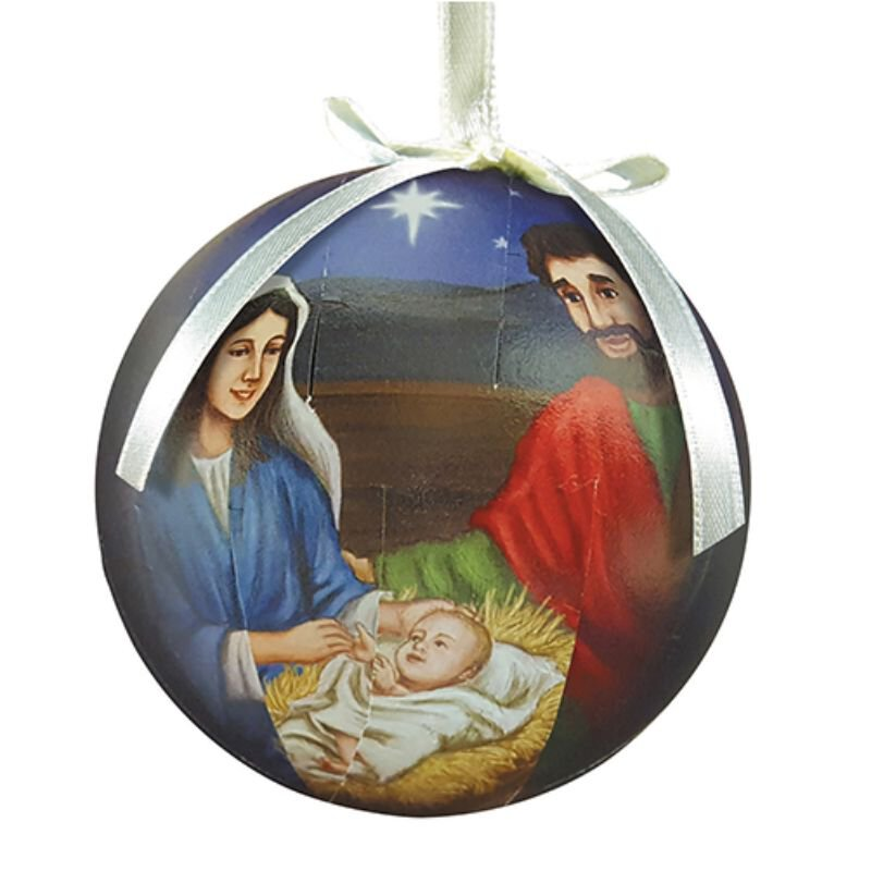 Silent Night, Holy Night Decoupage Ornament - 6/pk
