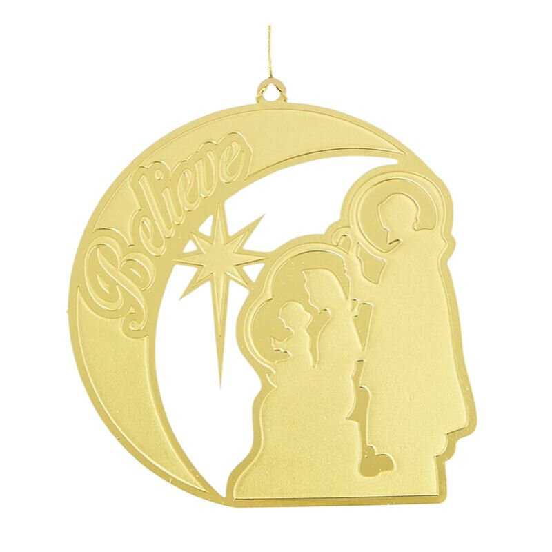 Believe Nativity Brass Ornament - 24/pk