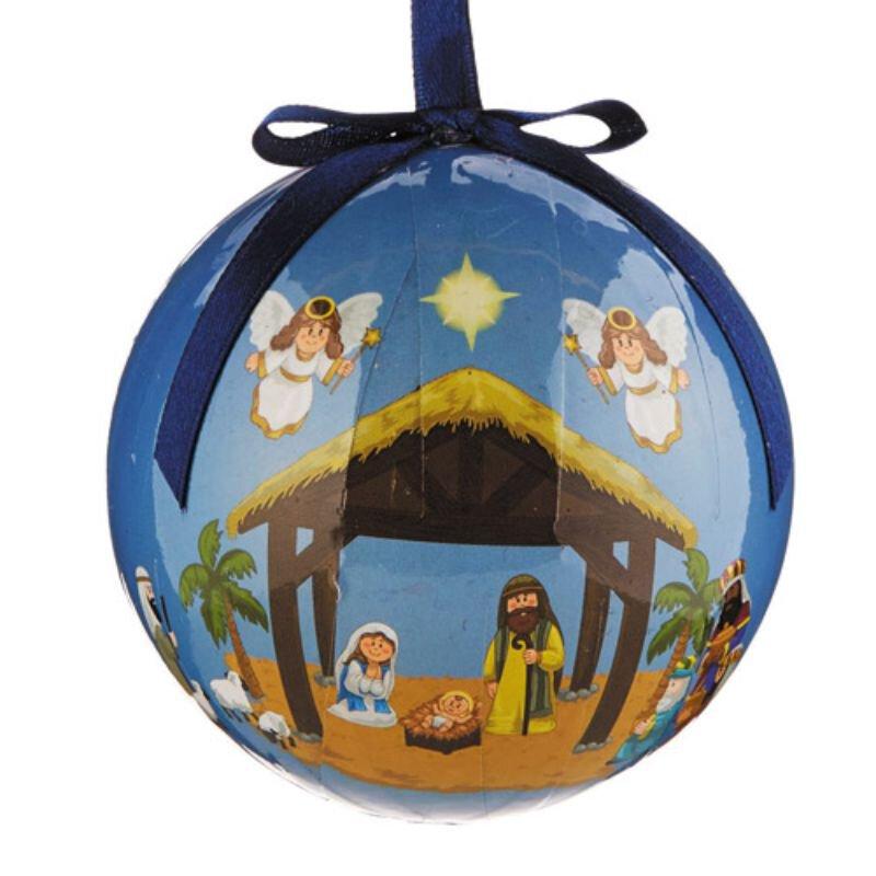 Children's Nativity Decoupage Ornament - 6/pk