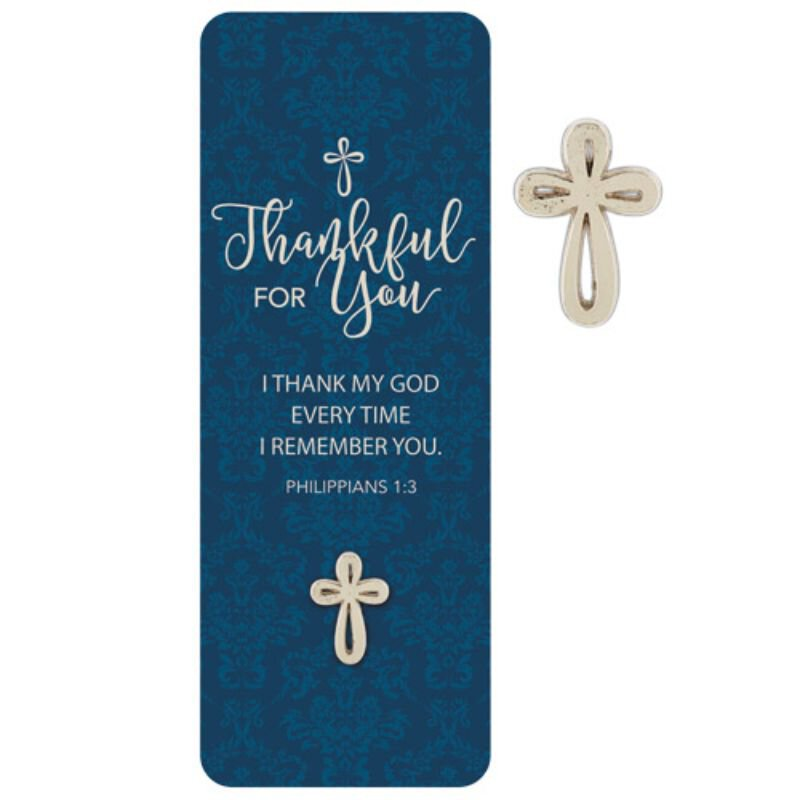 Thankful for You Lapel Pin with Bookmark - 12/pk