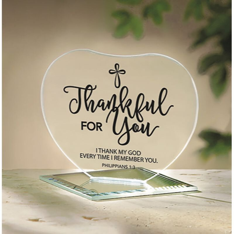 Thankful for You Glass Heart Stand - 12/pk