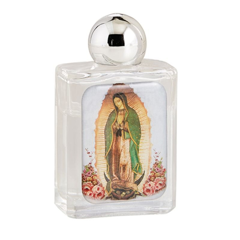 Our Lady of Guadalupe Glass Holy Water Bottle - 12/pk