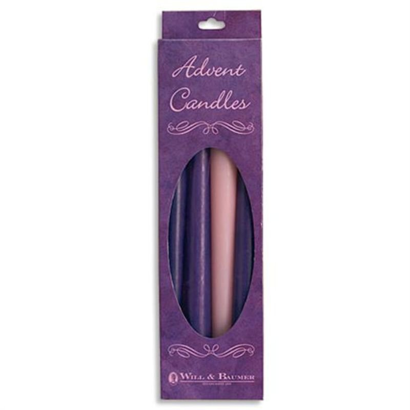 "12"" Advent Taper Candle Set - Purple/Pink"
