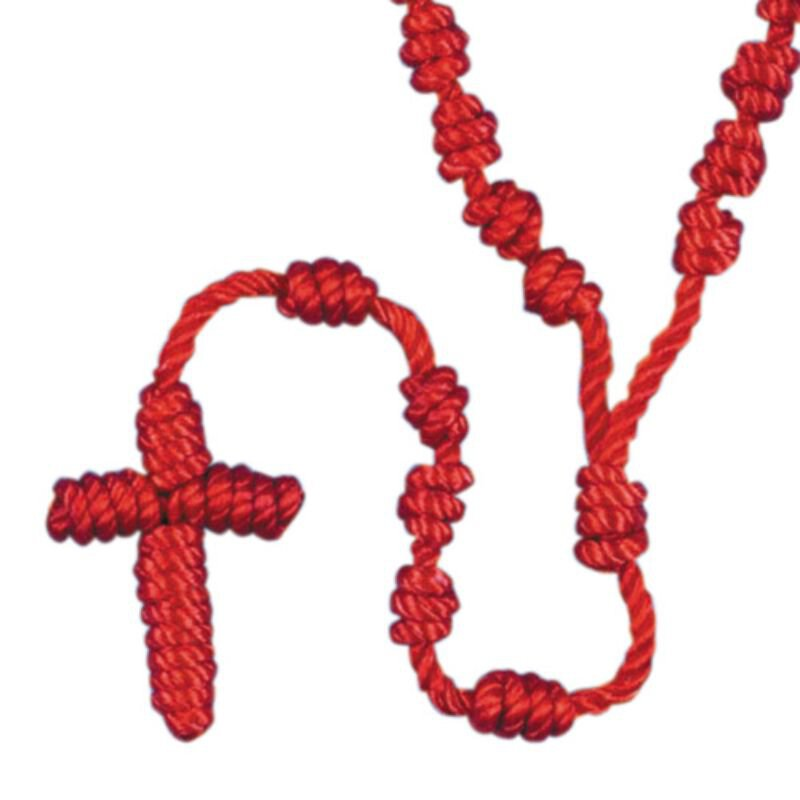 Red Knotted Cord Rosary - 12/pk
