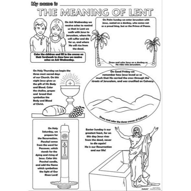 Color Your Own Poster - The Meaning of Lent - 50/pk