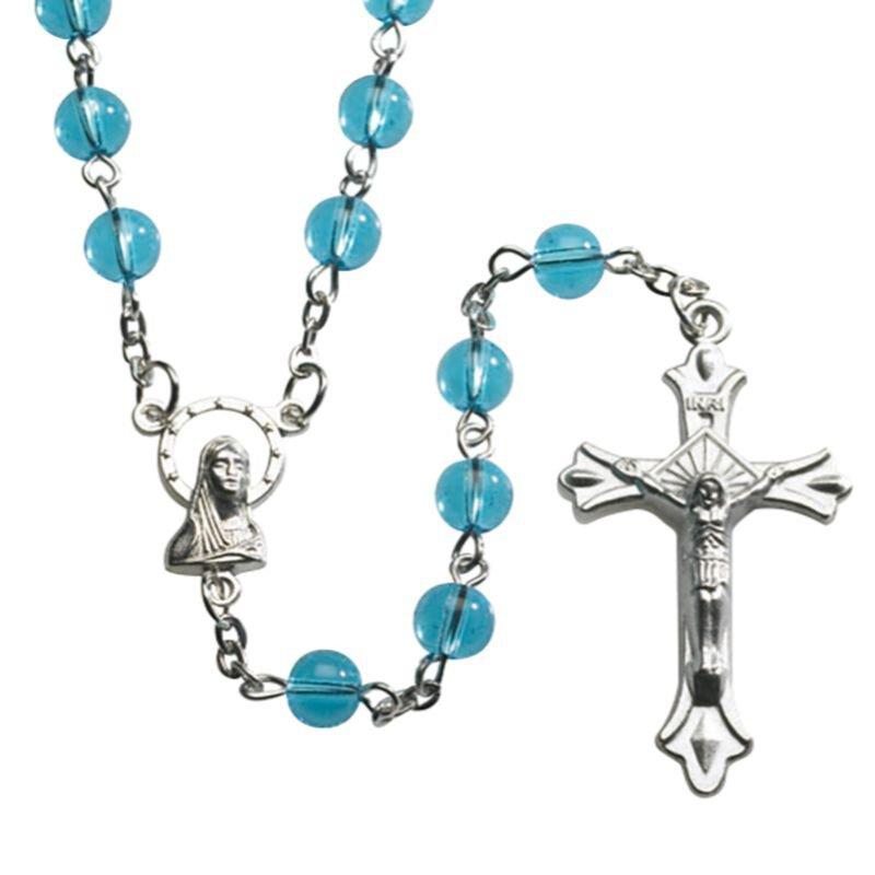 Aqua Round Pressed Glass Rosary - 12/pk