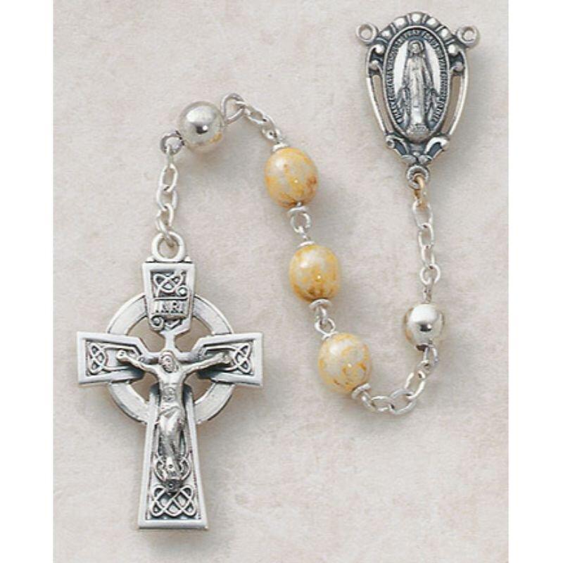 Sterling Silver Semi-Precious Connemara Marble Rosary