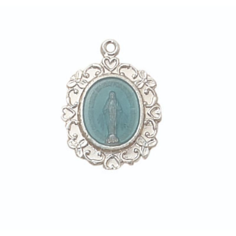 Creed® Sterling Miraculous Medal with Blue Accent