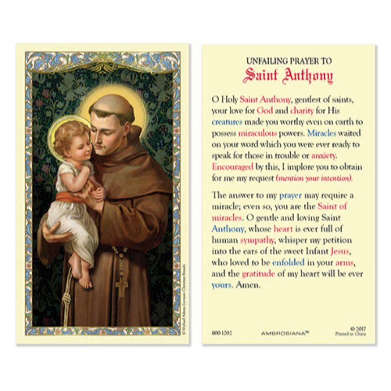 St. Anthony Laminated Holy Card - 25/pk - Devotional Items