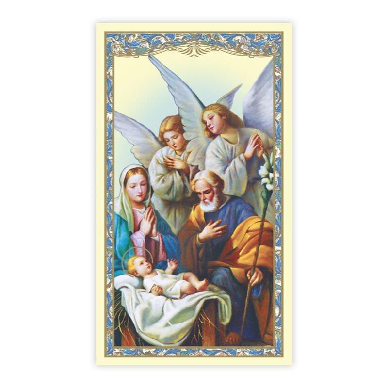 Nativity with Adoring Angels Holy Card - 100/pk