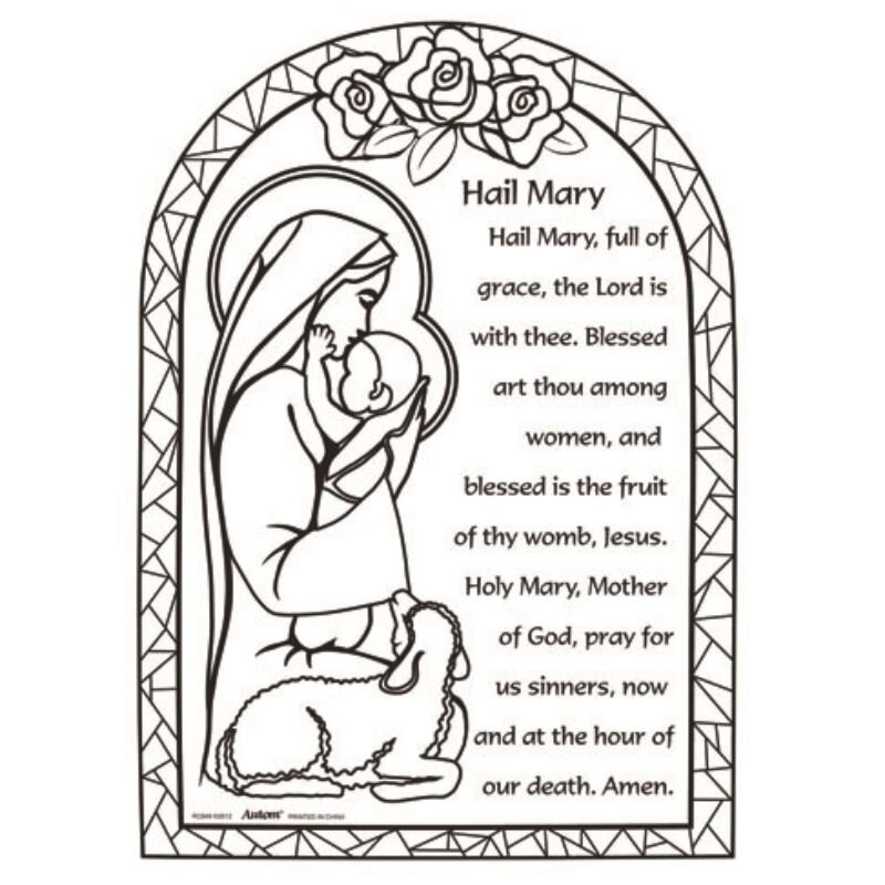Color Your Own Prayer Picture - Hail Mary - 48/pk