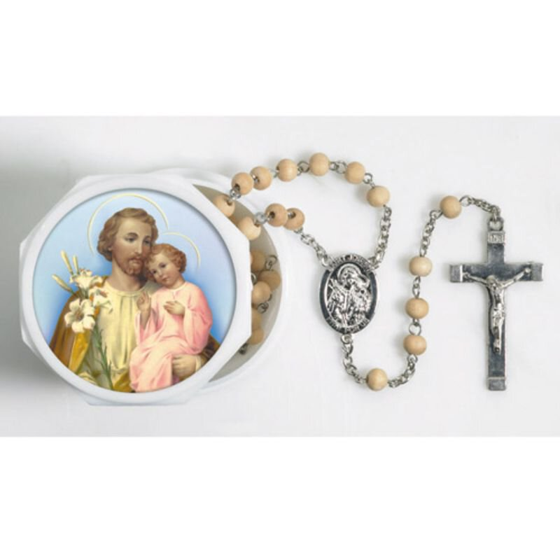 St. Joseph Lily Scented Rosary with Two-Piece Case - 12/pk