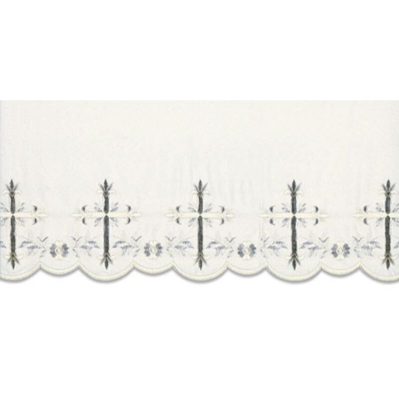 Cross Leaf Scalloped Edge Altar Cloth