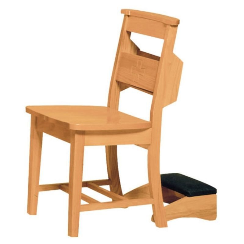 Prie Dieu Chair with a Wood Back