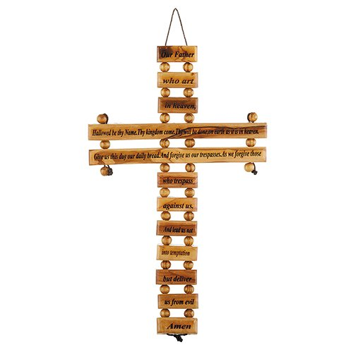 Olive Wood Our Father Wall Cross