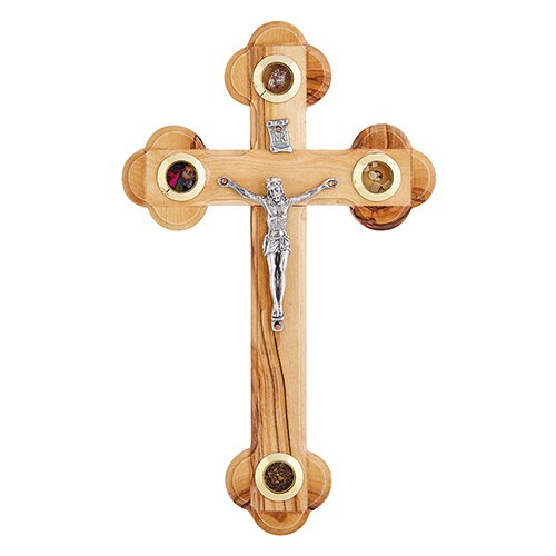 Olive Wood Budded Crucifix with Treasures from the Holy Land