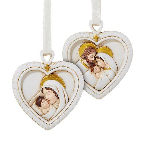 Heart with Cross Christmas Ornament Assortment (2 Asst) - 12/pk