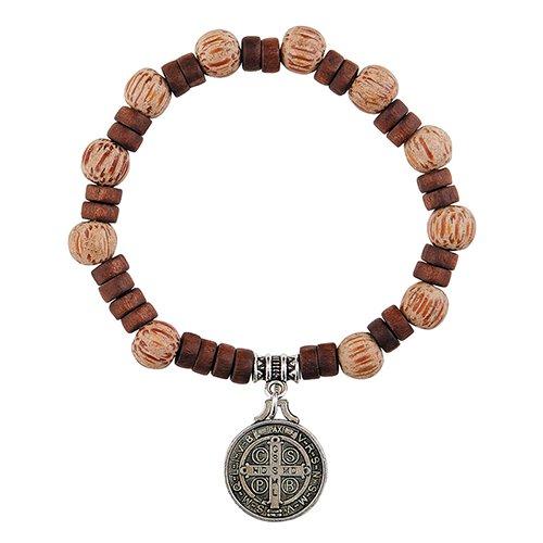 St. Benedict Wood Bead Rosary Bracelet - 12/pk