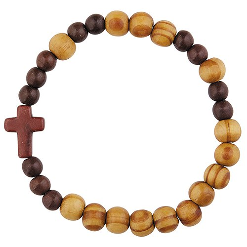 Olive Wood Finish Stretch Rosary Bracelet - 24/pk