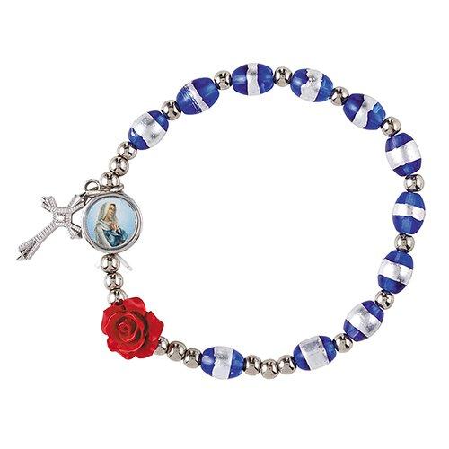 Rose Rosary Bracelet Assortment (3 Asst) - 12/pk