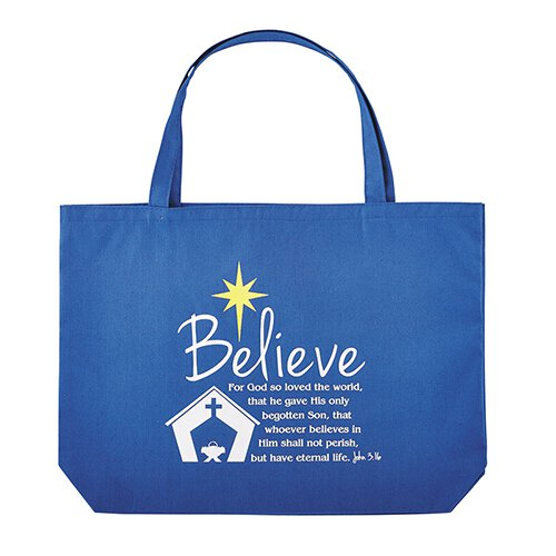 Believe Christmas Canvas Tote Bag - 6/pk