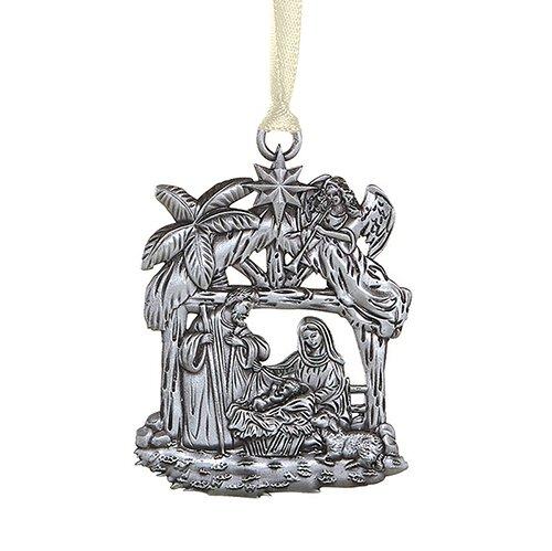 Nativity Stable Antique Christmas Ornament - 12/pk
