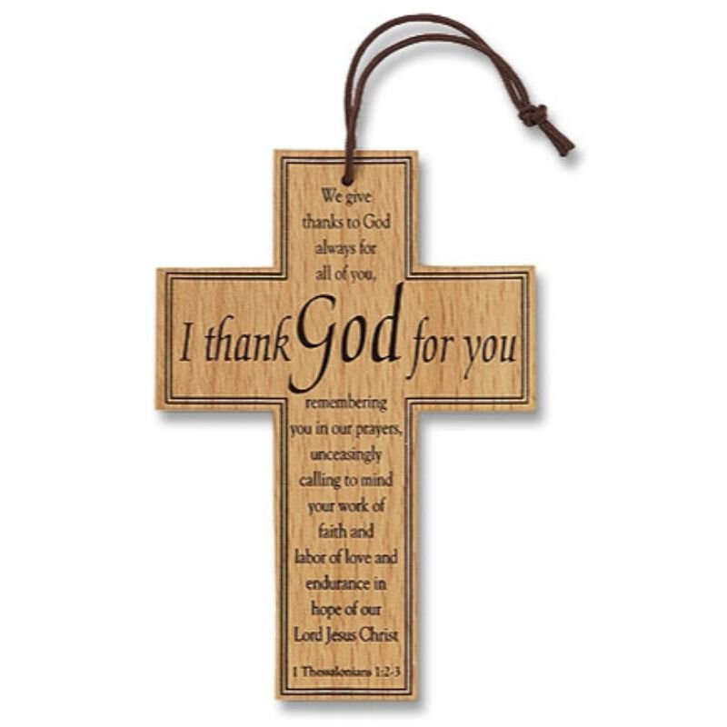 I Thank God For You Appreciation Wood Cross - 12/pk