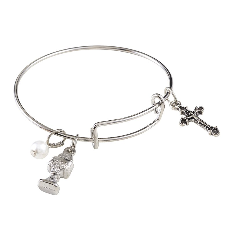 First Communion Bangle Charm Bracelet - 12/pk