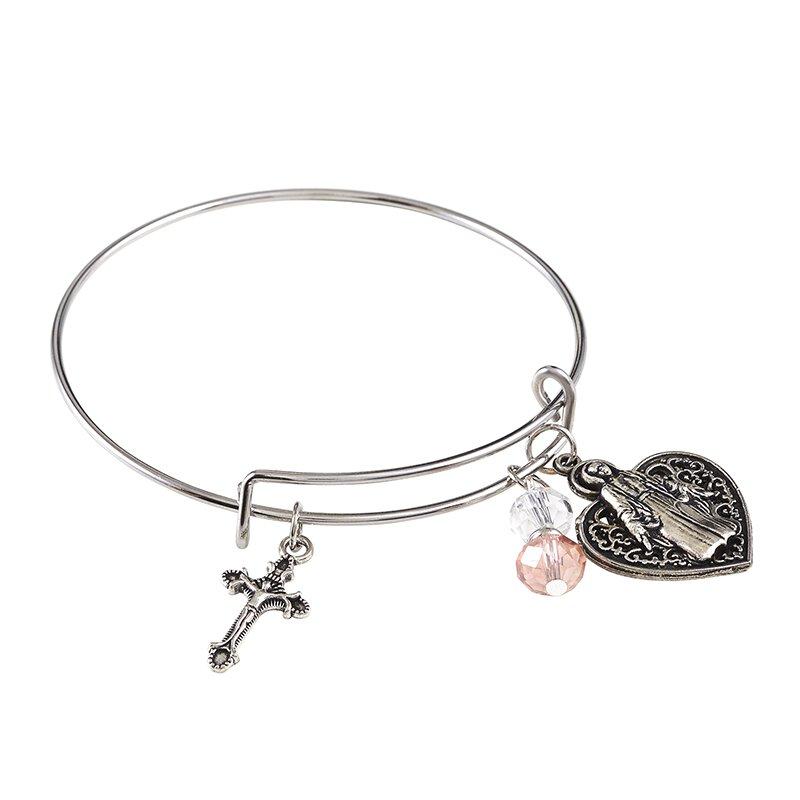 Madonna with Heart Bangle Charm Bracelet - 12/pk