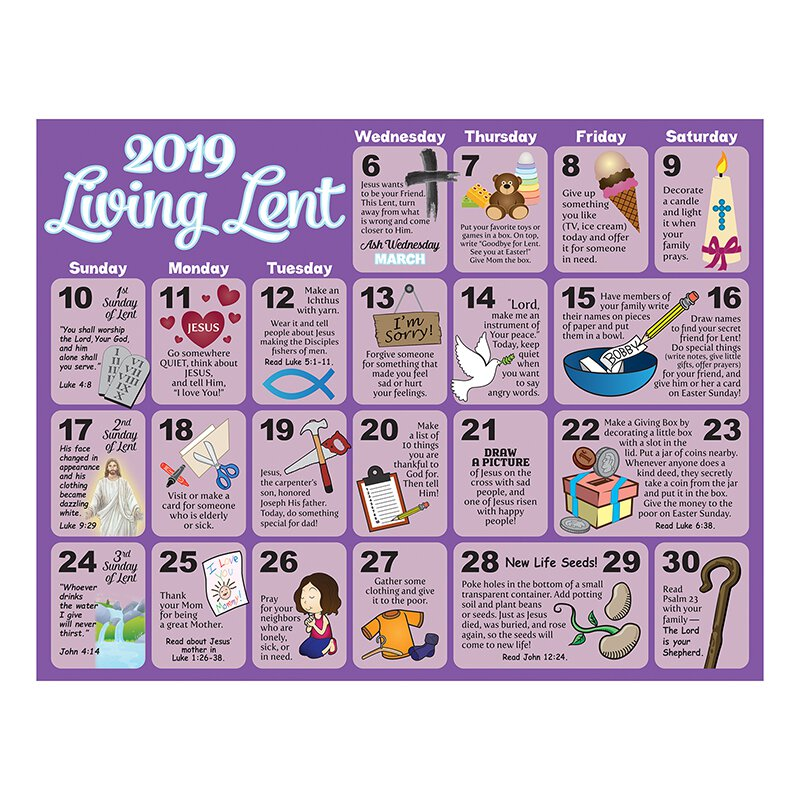 Lent Calendar 2019 2019 Children's Lenten Activity Calendar   100/pk