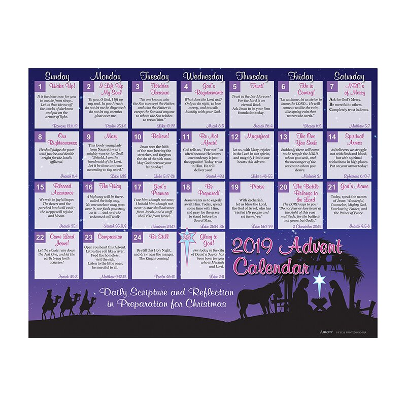 2019 daily scripture and reflection advent calendar 100 pk. Black Bedroom Furniture Sets. Home Design Ideas