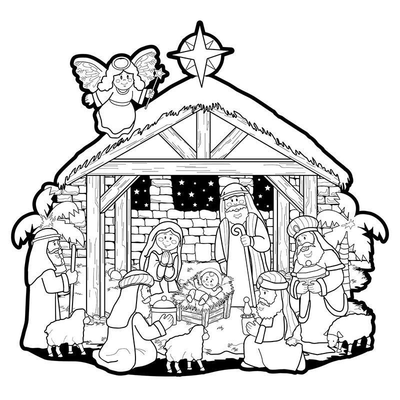 Color-Your-Own Nativity Scene Fuzzy Poster - 36/pk