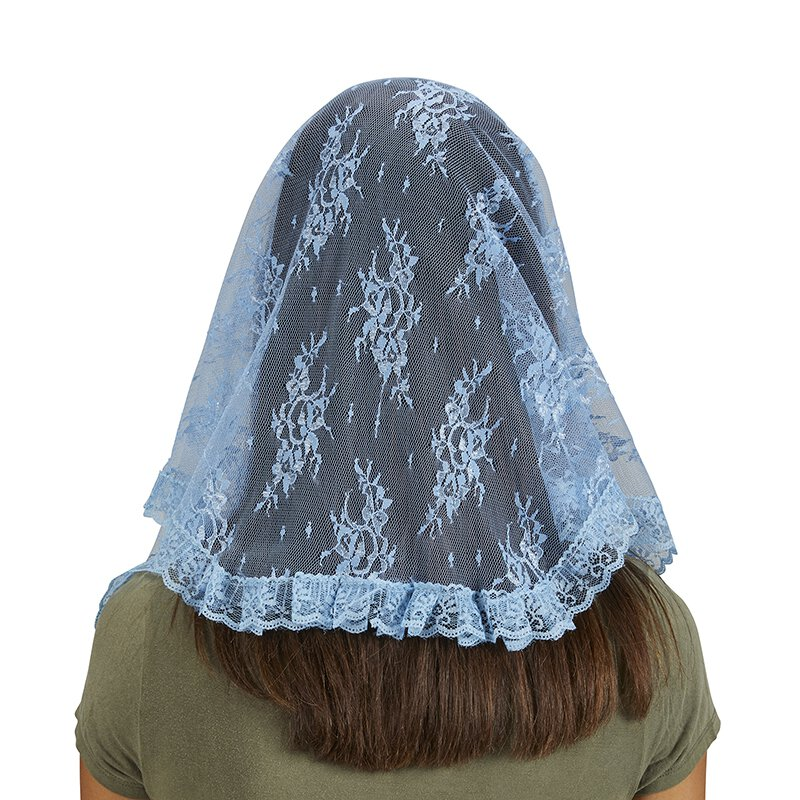 2//pk Blue US Gifts Traditional Chapel Veil
